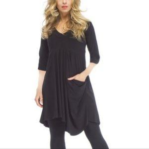 Sympli Asymmetric Hem Black Jersey Tunic Dress